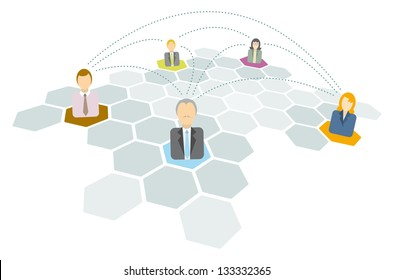 Business people connecting / Networking icons