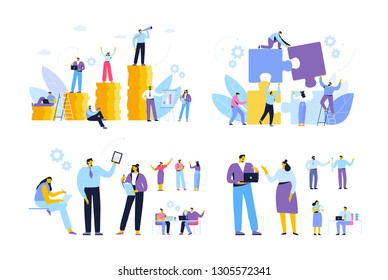 Business people. Cooperation. Business meeting. Teamwork. Business people working together. Cartoon Flat style characters.