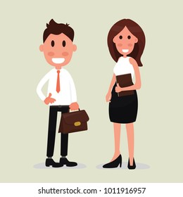 Business people couple - Young business man and woman