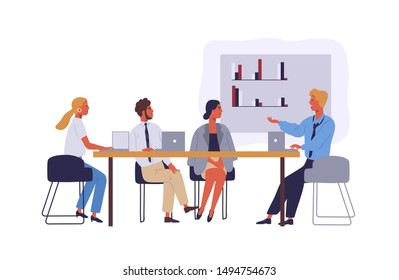 Business people coworking space flat vector illustration. Employees characters in meeting room. Businessmen and businesswomen conference isolated clipart. Colleagues discussing corporate project.