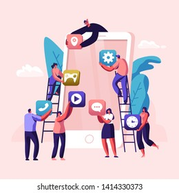 Business People Creative Team Putting App Icons on Huge Smartphone Screen. Designers Develop Application for Mobile Phone, Busy Working Process, Cooperation, Teamwork. Cartoon Flat Vector Illustration