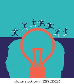 Business people crossing an abyss over a lightbulbs. Business concepts. - Vector