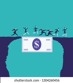 Business people crossing an abyss over a dollar bill. Business concepts. - Vector