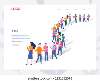 Business People crowd of business people standing in a line. Concept for web page, banner, presentation, social media. Group of people waiting in line, Group of refugees, migration. queue.
