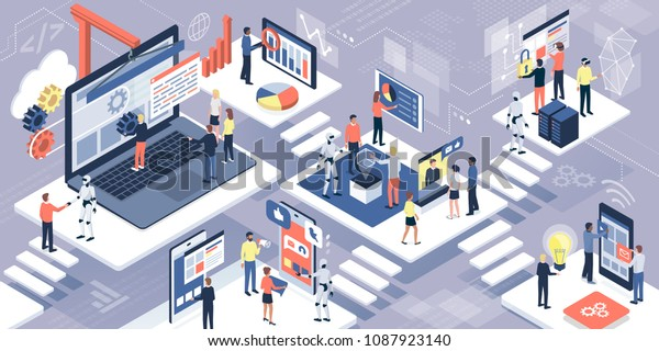 Business people, developers and designers working together with computers, touch screen devices and robots: IT technology, business and AI concept