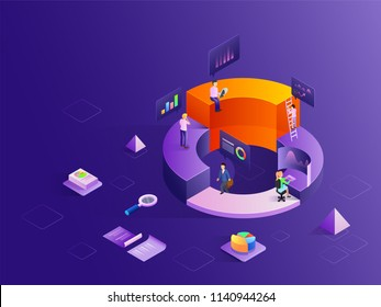 Business people at different levels of growth stages, analytics analysis the data with the help of infochart, isometric design for startup or data analysis concept.