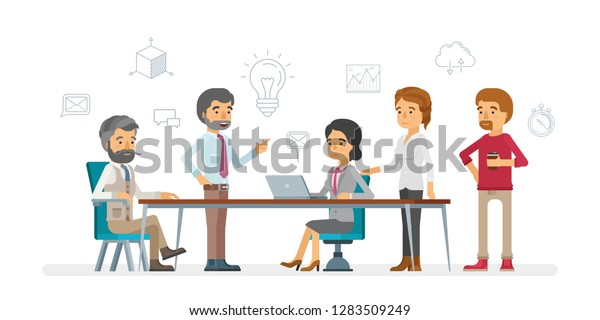 Awesome Business People Discussion Around Table Vector Stock Vector Beutiful Home Inspiration Ommitmahrainfo