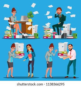 Business People Doing Paperwork Vector. Office Workers. Very Busy Day. To Excessive Work. Accounting Bureaucracy. Disorganized Manager. Documentation. Emotional Stress. Overworked. Illustration
