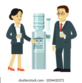 Business people drinking at the water cooler. Break time concept - young man and woman talking. Vector illustration in flat style isolated on white background.