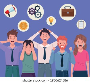 business people extressed avatars characters vector illustration design