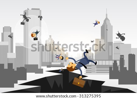 Business People Fall Down Hole Street Financial Crisis City Center Concept Flat Vector Illustration