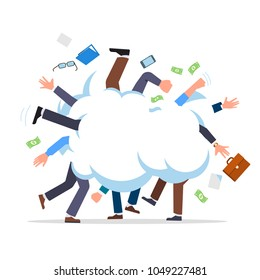 Business people fight cartoon. Business man battle with each other. Colleagues group fighting in smoke cloud tussle. Flat style isolated vector character illustration