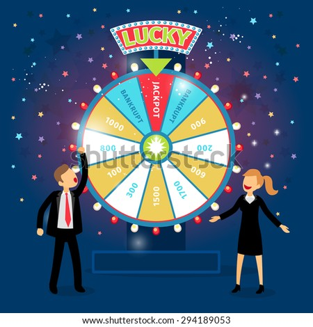 Business people with financial wheel of fortune. Gambling concept. Chance and risk, success and win, game and money. Vector illustration