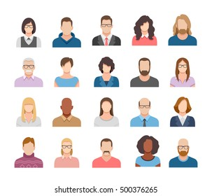 Business people flat avatars. Men and women business and casual clothes icons
