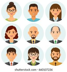 Los empresarios planean avatares con cara sonriente. Colección de iconos de equipo. Ilustración vectorial.