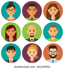 Business people flat avatars set with smiling face. Team icons collection, background in colors. Vector illustration.