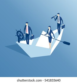 Business people are floating on a paper boat on the sea isometric illustration. Business concept teamwork and leadership