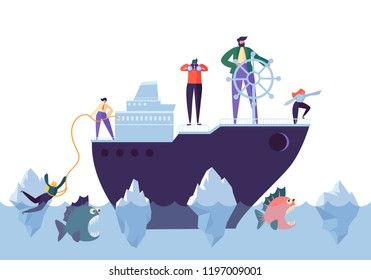 Business People Floating on the Ship in the Dangerous Water with Sharks. Leadership, Support, Crisis Manager Character, Teamworking Concept. Vector illustration