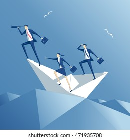 business people floating on the waves on a paper boat, team  on a paper ship in heavy sea, business concept teamwork and risk