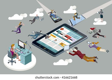 Business people flying with computers, tablets and smart-phones, creating content for a digital magazine.