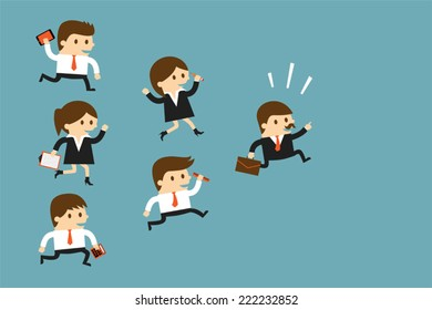 Business people following leader