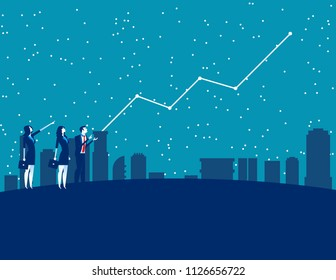 Business people and forecasting future profits. Concept business vector illustration. Forecaster, Finance and economy.