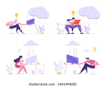 Business People, Freelancers Using Cloud System for Work and Communication. Characters Working on Laptops in Office and Home Transfer Info via Online Cloud Storage Cartoon Flat Vector Illustration