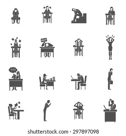 Business people in frustration black flat icons set isolated vector illustration
