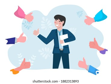 Business people give thumbs up to young men who are successful and achieve their goals.