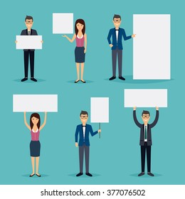 Business people giving presentation with white empty banners. flat vector illustration.