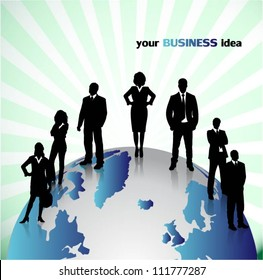 Business people with globe background