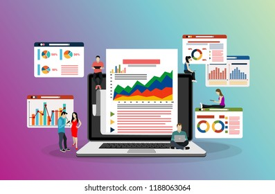 Business people graph diagram chart finance data analysis working together brainstorming concept over green background flat horizontal vector illustration