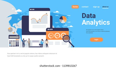 business people graph diagram finance data analytics calculator working together brainstorming concept over world map background flat horizontal copy space vector illustration