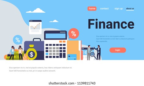 business people graph finance analysis calculator working together growth wealth concept flat horizontal copy space vector illustration