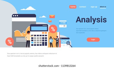 business people graph finance analysis calculator working together brainstorming concept flat horizontal copy space vector illustration