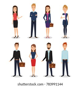 business people group avatars characters