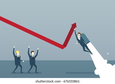 Business People Group Building Finance Graph With Arrow Up Analysis Financial Progress Success Concept Flat Vector Illustration