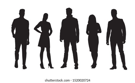 Business people, group of businessmen and businesswomen. Set of isolated vector silhouettes