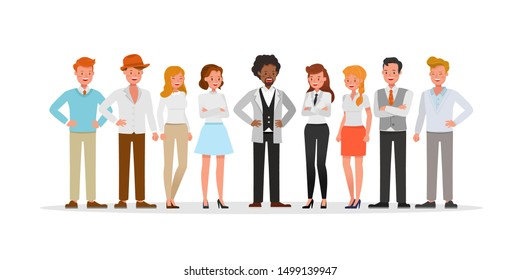 Business people group character vector design presentation in various action.