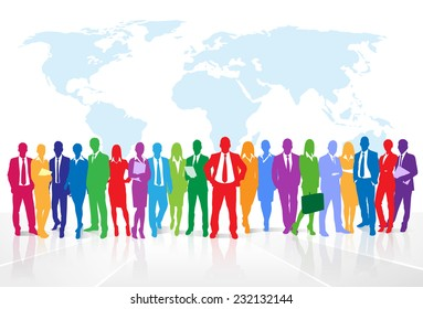 Business people group colorful silhouette concept businesspeople team over world map background