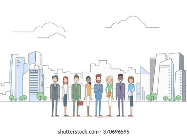 Business People Group Executives Team Coworkers Over Big City View Vector Illustration