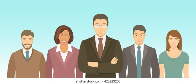 Business people group flat vector illustration. Successful team of young ambitious men and women in suits. Office staff employment concept. Leader with his team. New start up horizontal banner