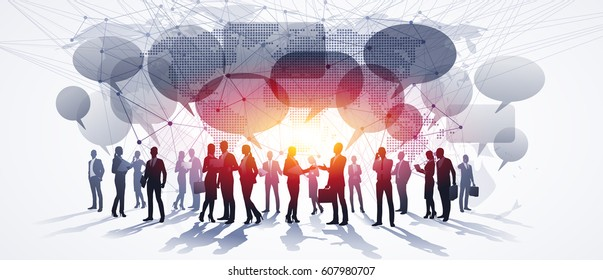 Business People Group. Global Communications. Vector illustration