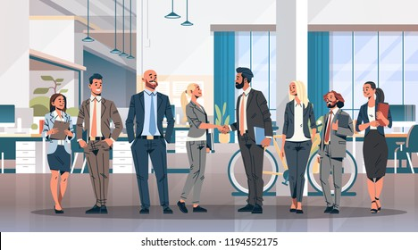 business people group hand shake agreement communicating concept modern coworking office interior creative workplace men women partnership male female cartoon character full length horizontal flat