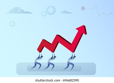 Business People Group Holding Financial Arrow Up Successful Business Team Development Growth Vector Illustration