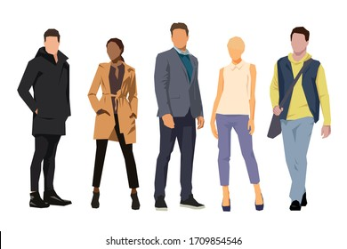 Business people. Group of business men and women, isolated flat design illustrations