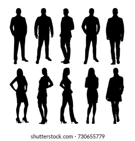 Business people, group of business men and women. Set of vector silhouettes. Standing coworkers