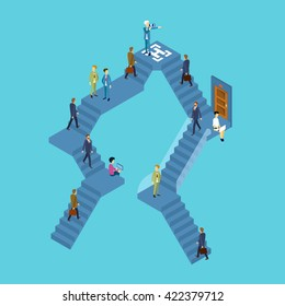 Business People Group On Staircase Businesspeople 3d Isometric Vector Illustration