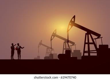 Business People Group Pumpjack Oil Rig Crane Platform Banner Flat Vector Illustration