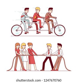Business people group riding fast on three person tandem bike. Successful businessman collective teamwork concept. Tug of war team building. Flat linear cartoon characters isolated vector illustration